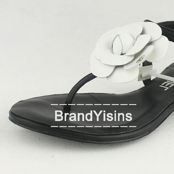 シャネル トングサンダル ローヒール カメリア ブラック CH275140-5