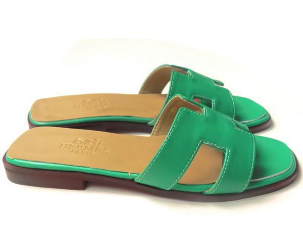 エルメス 偽物靴代引き可能中国国内発送 サンダル Hロゴ レザー レディース グリーン HR275013-3