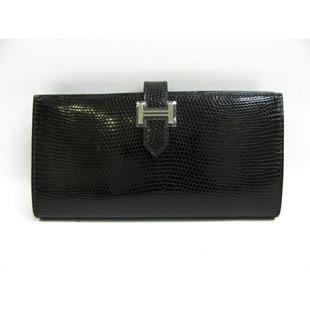 エルメス  ベアンスフレ 二つ折り長財布リザードブラック(金具シルバー)2104100831491