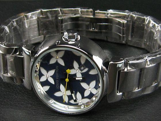 ルイヴィトン   時計黒×白文字盤女性用LV-009