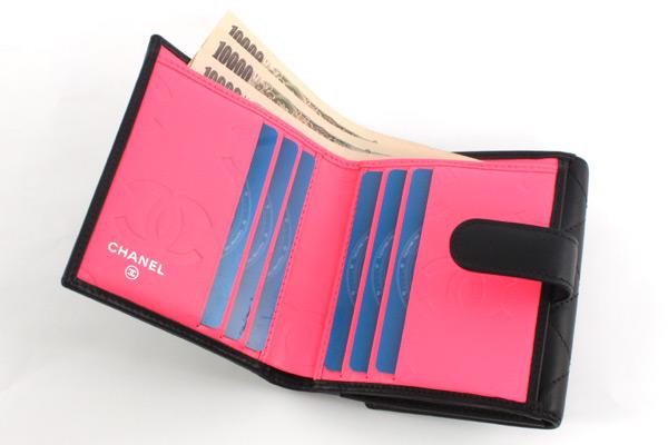 品番:lwcha50099bkpkシャネル CHANEL カンボンライン 二つ折財布 ブラッ