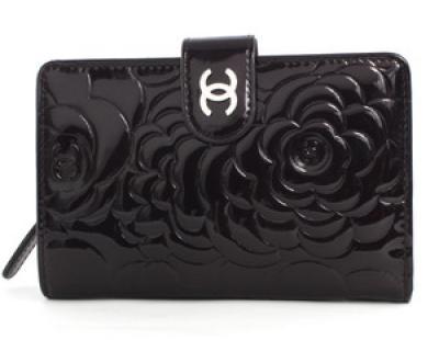 chanelコピー通販 カメリア エナメル 二つ折財布