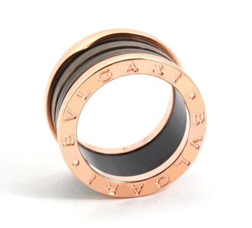 ブルガリ ビーゼロワン リング【指輪】 タバコブラウン&ピンクゴールド【4バンド】 AN856226