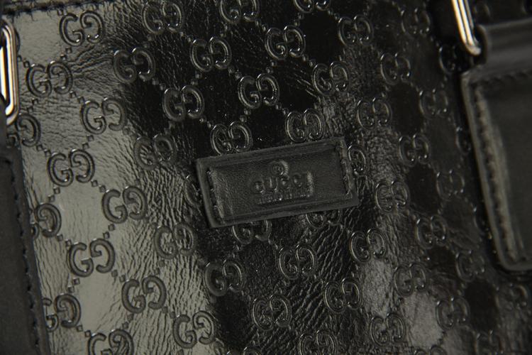 Gucciフルレザー GUCCIグッチ ブラック 52218-1 男性 ハンドバッグ メッセンジャーバッグ ショルダーバッグ